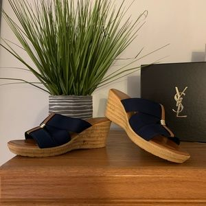 Navy & camel wedges